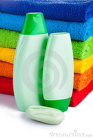 Colour terry towels combined by pile and  shampoo