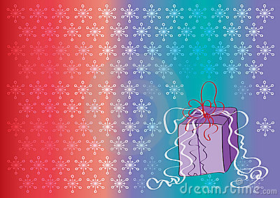 Coloured background with snowflakes