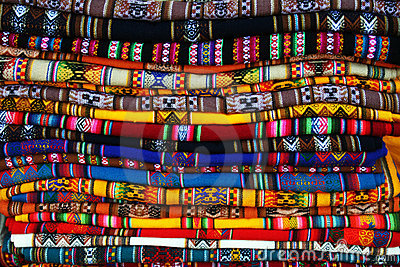 Coloured bolivians tablecloths