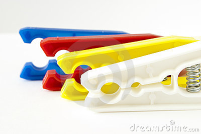 Coloured clothes pegs