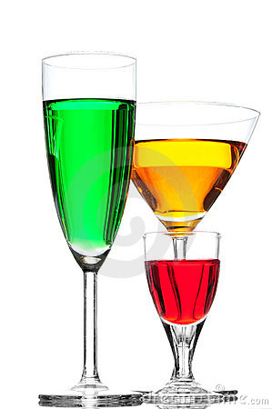Coloured cocktail or wine