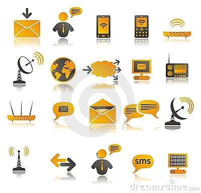 Coloured communication web icons set