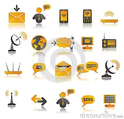 Coloured communication web icons set
