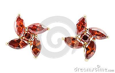 Coloured earrings on white