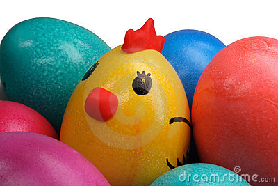 Coloured easter eggs and chicken
