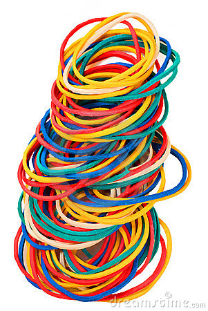 Coloured elastic bands