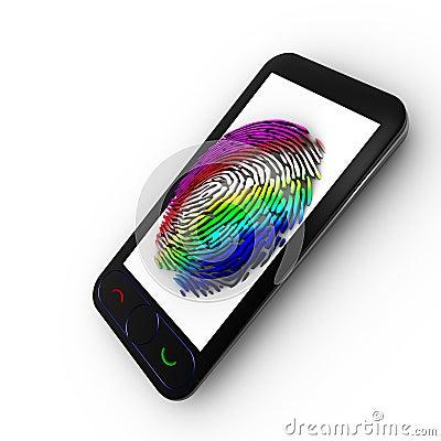Coloured fingerprint on a Mobile
