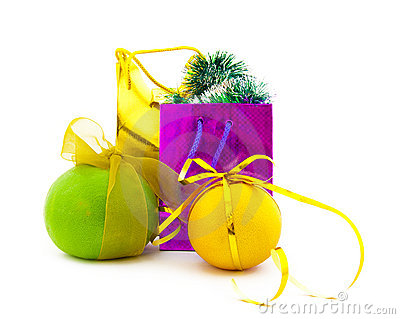 Coloured gift packages and group of citrus