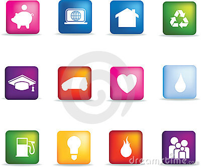 Coloured home icon button set