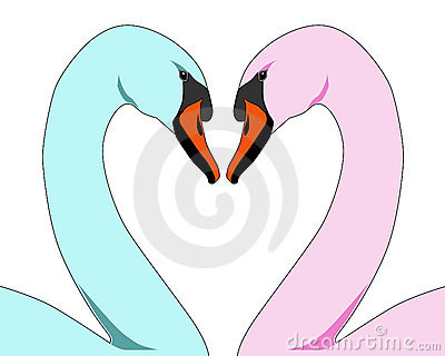 Coloured Love Swans