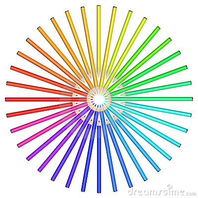 Coloured pencils arranged in a circle.
