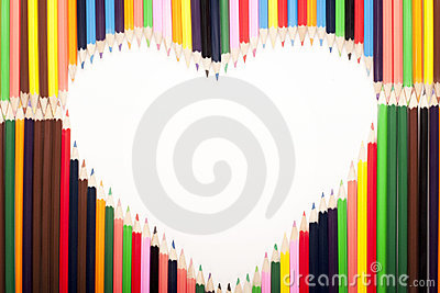 Coloured pencils heart shape