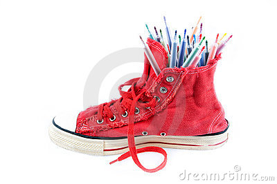 Coloured pens in sneakers