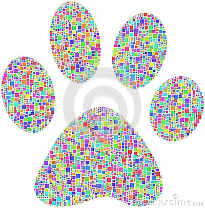 Coloured pet footprint