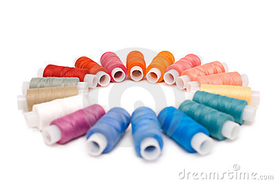 Coloured reels of thread