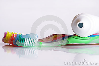 A coloured variety in toothbrushes