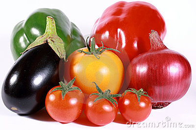 Coloured vegetables plethora isolated on white