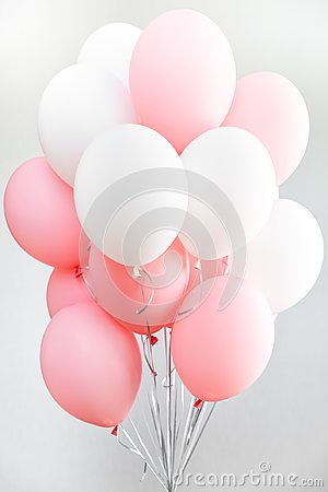 Free Colourful Balloons, Pink, White, Streamers. Helium Ballon Floating In Birthday Party. Concept Balloon Of Love And Stock Photo - 116701570