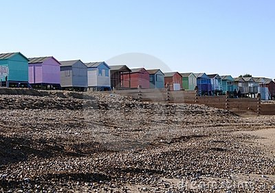 Colourful beach huts on English beach