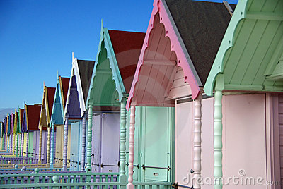 Colourful Beach huts on Mersea Island Essex