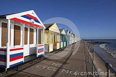 Colourful Beach Huts at Southwold, Suffolk, Englan Editorial Photography