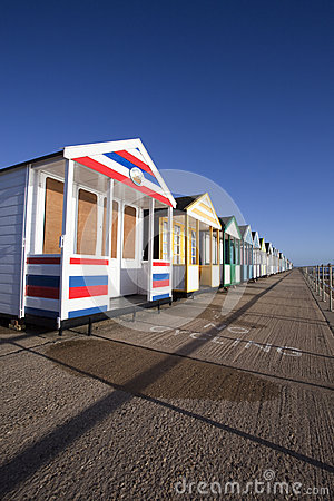Colourful Beach Huts at Southwold, Suffolk, England Editorial Photography