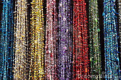 Colourful beads on market in Morocco
