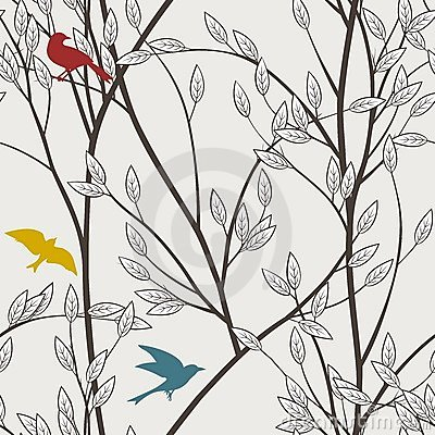 Colourful birds seamless pattern