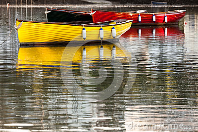 Colourful Boats with Reflections