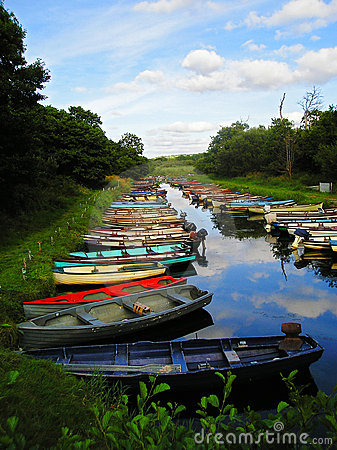 Colourful boats on the river in Ireland
