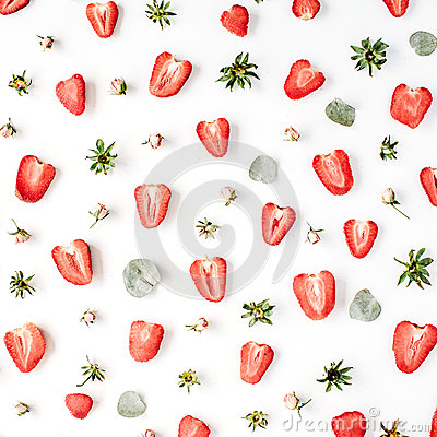 Free Colourful Bright Pattern Made Of Strawberries, Pink Rose Buds Stock Photos - 72267733