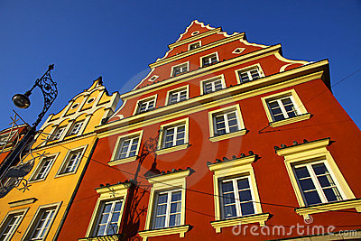 Colourful buildings in Wroclaw city, Poland