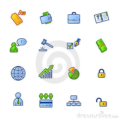 Colourful business icons