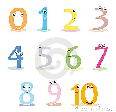 Colourful cartoon numbers