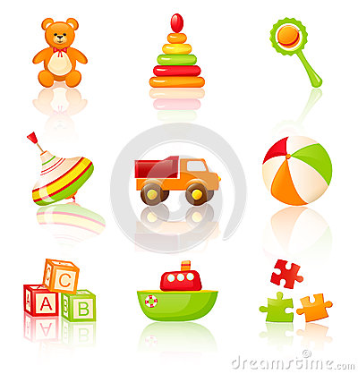 Colourful children s toys. Vector icons.