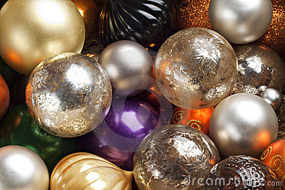 Colourful Christmas baubles.