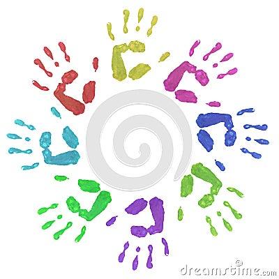 Colourful Circle Hand Prints