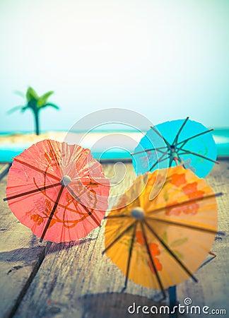 Colourful cocktail umbrellas