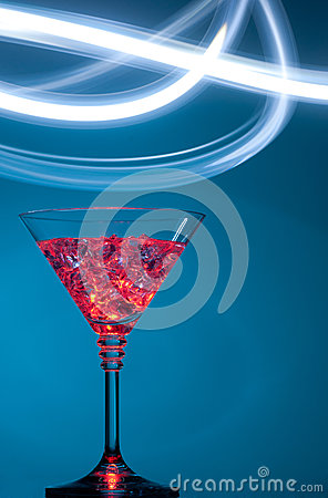 Colourful coctail on the blue background
