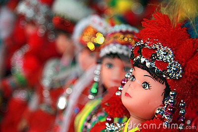 Colourful dolls dressed in traditional Hmong tribe