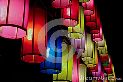 Colourful fabric lanterns