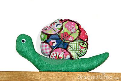 Colourful fabric snail