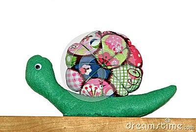 Colourful fabric snail