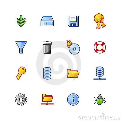 Colourful file server icons