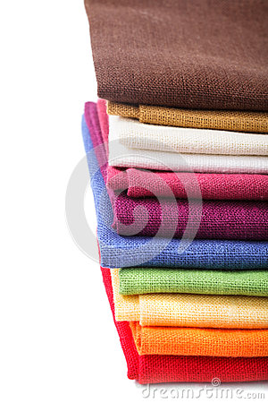 Colourful flax texrile heap