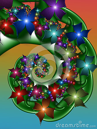 Colourful flower spiral fractal Stock Photo