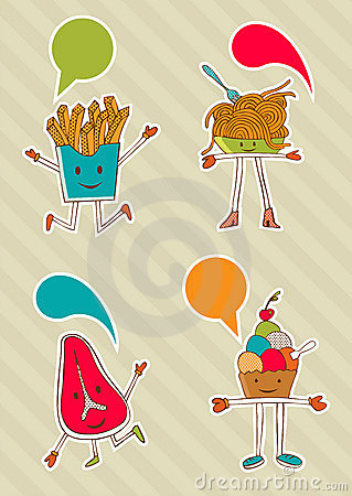 Colourful food cartoons with dialogue balloon.