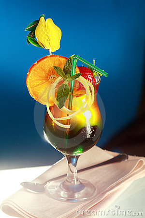Colourful fruity cocktail