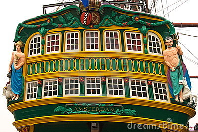 Colourful galleon ship stern