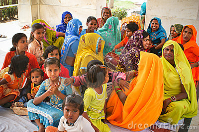 Colourful group of hindu women